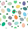 seamless pattern with different easter eggs vector image