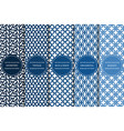 set blue geometric simple seamless patterns vector image