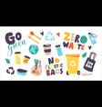 set icons zero waste no plastic theme vector image