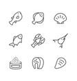 set line icons seafood vector image