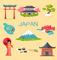 set of japanese national symbols vector image vector image