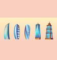 set of modern buildings urban skyscrapers vector image