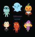 set six hand drawn halloween characters vector image vector image