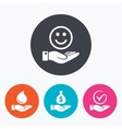 Smile and hand icon Water drop Tick symbol vector image vector image