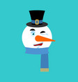 snowman winking emotion avatar happy emoji face vector image vector image