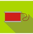 Spool of red thread icon flat style vector image
