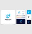 travel logo with pin shape concept logo vector image