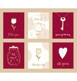 Valentine Cards and Love Notes Hand Drawn Set vector image