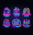 vape shop logo collection neon vape neon vector image
