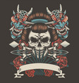 vintage tattoo colorful template vector image vector image