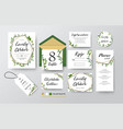 wedding invite menu rsvp thank you card design vector image vector image