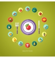 flat design fruits and vegetables icons composit vector image