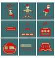 set of icons in flat design winter sport vector image
