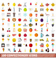 100 confectionery icons set flat style vector image vector image