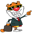 appy Tiger Pointing Towards Success vector image vector image