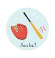 bat glove and ball baseball equipment vector image vector image