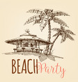 beach party wallpaper beach bar and palm trees vector image vector image