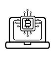 bitcoin microchip icon black and white vector image