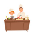 boy chef cute kid and man cooking at kitchen vector image
