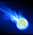 burning tennis ball on blue fire vector image vector image