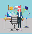 businesswoman at office vector image vector image