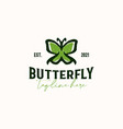 butterfly vintage rustic hipster logo template vector image vector image