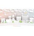 cannes france city skyline in paper cut style vector image vector image