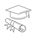 cap of graduate and certificate degree line icon vector image vector image