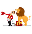 cartoon lion tamer puts his head in the jaws of vector image vector image