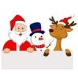 Cartoon Santa Claus reindeer and snowman with bla vector image