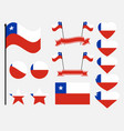 chile flag set symbols flag in heart vector image vector image