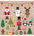 christmas lights and design elements set vector image