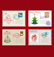 christmas postcard template set vector image vector image