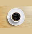 coffee cup and coffee bean on the wooden table vector image