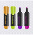 collection of bright and colored highlighters vector image