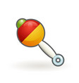 colored plastic baby rattle visual and auditory vector image