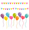 colorful balloons and garlands isolated on white vector image