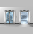 empty glass elevator with open and closed doors vector image vector image