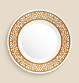 empty plate with gold border vector image