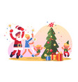 family with christmas tree vector image vector image