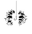 flock of fish near the hook silhouette of schools vector image vector image