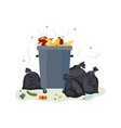full metal trash can overflowing with food waste vector image vector image