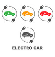 icons of electric cars side view of the vector image