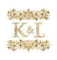 k and l vintage initials logo symbol letters vector image vector image