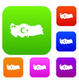 map of turkey with national flag symbols set color vector image vector image