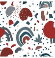 mid century modern abstract shape seamless pattern vector image
