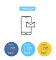 mobile message outline icons set vector image vector image