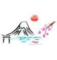 Mount Fuji and sakura in Japan vector image