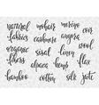 Natural fibers types lettering set
