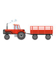 red farm tractor which carries a trailer heavy vector image